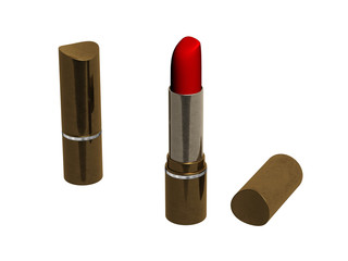 3d two  opened and closed red lipsticks on white