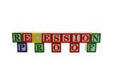 Vintage alphabet blocks spelling recession proof poster