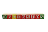 Vintage alphabet blocks spelling recession poster