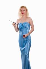 Satin evening gown