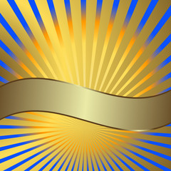 Solar background with golden beams and a silvery banner