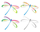 Set of color dragonfly. Vector illustration.
