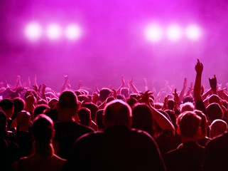 Menschenmenge bei Konzert in magenta