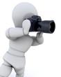 3D man using a camera