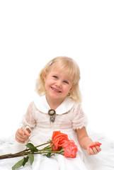 Little girl in a beautiful white dress