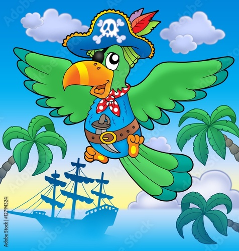 Fotobehang Piraten Flying pirate parrot with boat