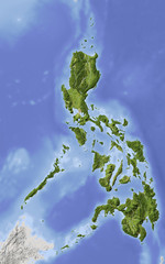 Philippines, shaded relief map, colored for vegetation