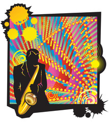 Musical jazz party, saxophonist silhouette in foreground, vector