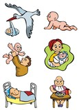 Set of cartoon drawing of babies, different activities, vector