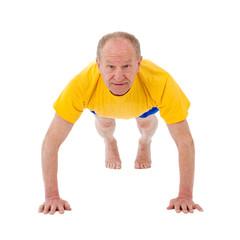 Active senior man. Push Ups