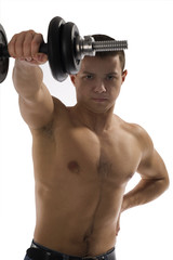 Young Sporty Man with Dumbbell Isolated on White Background