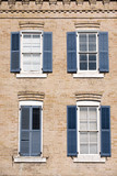Austin old brick houses with blue shutters, Texas poster