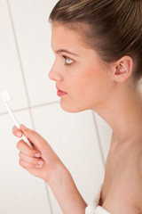 Body care series - Blond model with white toothbrush