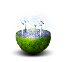Green planet with ocean of water inside with windmills