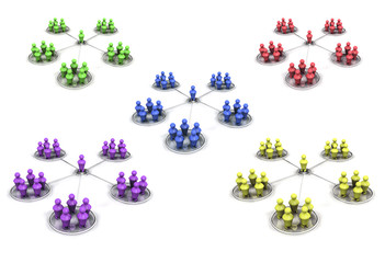reseau social 3D multicolore