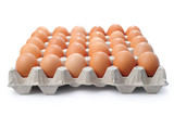 A lots of brown chicken eggs, with clipping path