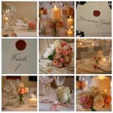 rosa rote Tischdekoration