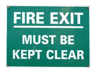 Fire exit sign with white text over green