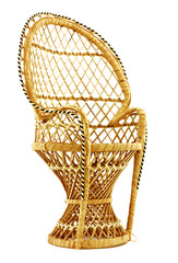 This is a delightful doll size wicker chair.