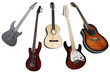 an electric and classical guitars