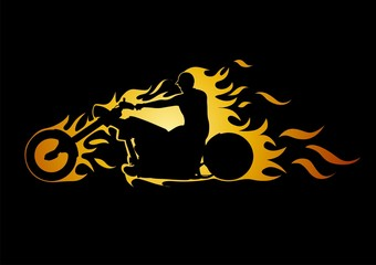 fire of the motorcyclist