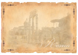 Old paper with  Roma view montage from my resource poster