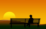 donna su panchina al tramonto poster