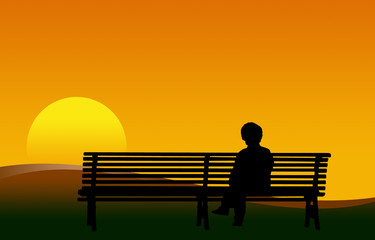 donna su panchina al tramonto