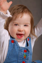 Excited handicapped toddler