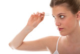 Body care series - Young lady using tweezers poster