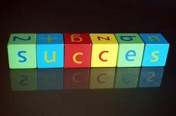 """""""Succes"""" (cubes en bois avec reflet)"""