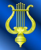 Vector gold musical lyre