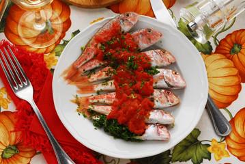 Triglie in rosso - Secondo di pesce della cucina toscana