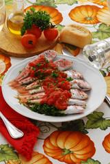 Triglie in rosso - Secondi di pesce della toscana