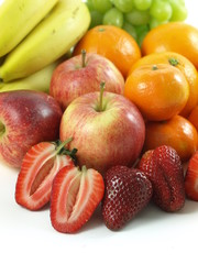Fruits: apples, strawberries, oranges, bananas, grapes.