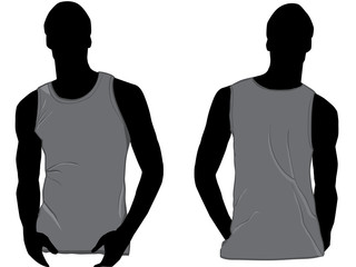 Grey Tank top design template with front and back.
