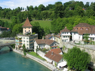 Medieval houses by Aare river in Bern, capital of Switzerland.