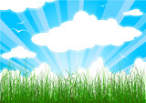 Sunny summer background with grass, clouds and sunbeams poster