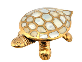 Gold turtle. Mother-of-pearl armour. Decoration from India.