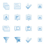Database web icons set 2, blue series poster