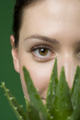 Close up woman and aloe plant