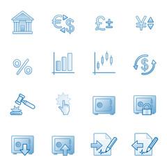 Finance web icons, blue series