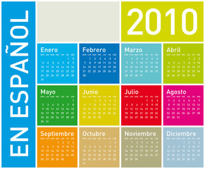 Colorful Calendar for year 2010. in vector format. In Spanish.