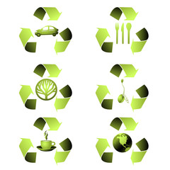 A set of 6 free-standing ecological icons
