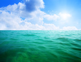 oceans water and blue sky poster