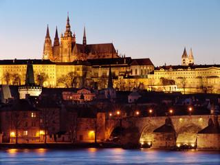 Colorful Prague gothic Castle past Sunset