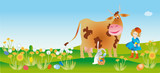 Easter reason with a girl, cow and rabbit poster