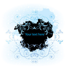 Floral banner with space for text. Vector illustration.