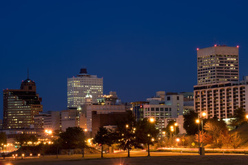Highrises of Memphis, Tennessee skyline in night time