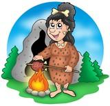 Cartoon prehistoric woman before cave poster